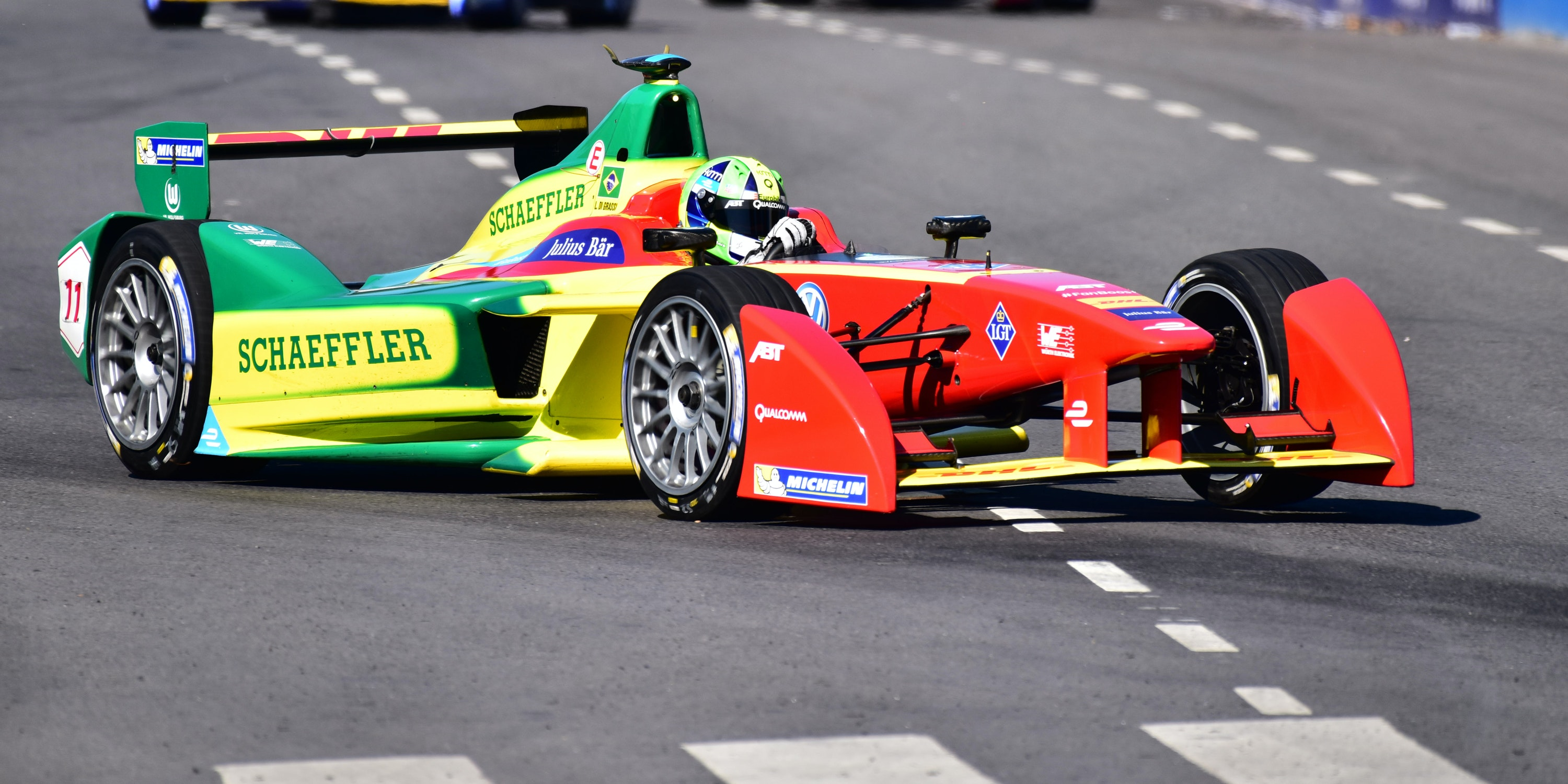 Lucas di Grassi of ABT Schaeffler Audi Sport during the Buenos Aires ePrix as part of 2015-2016 FIA Formula E Championship at Puerto Madero Street Race Track on February 06, 2016 in Buenos Aires, Argentina.