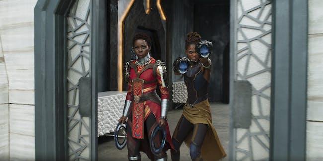 L to R: Nakia (Lupita Nyong'o) and Shuri (Letitia Wright) in 'Black Panther'