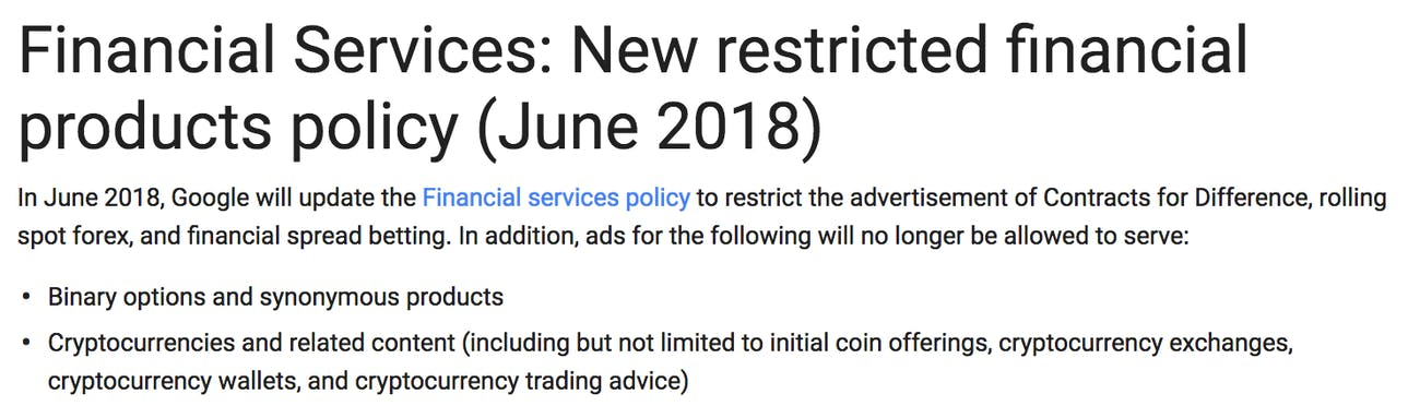 Google's cryptocurrency ad ban.
