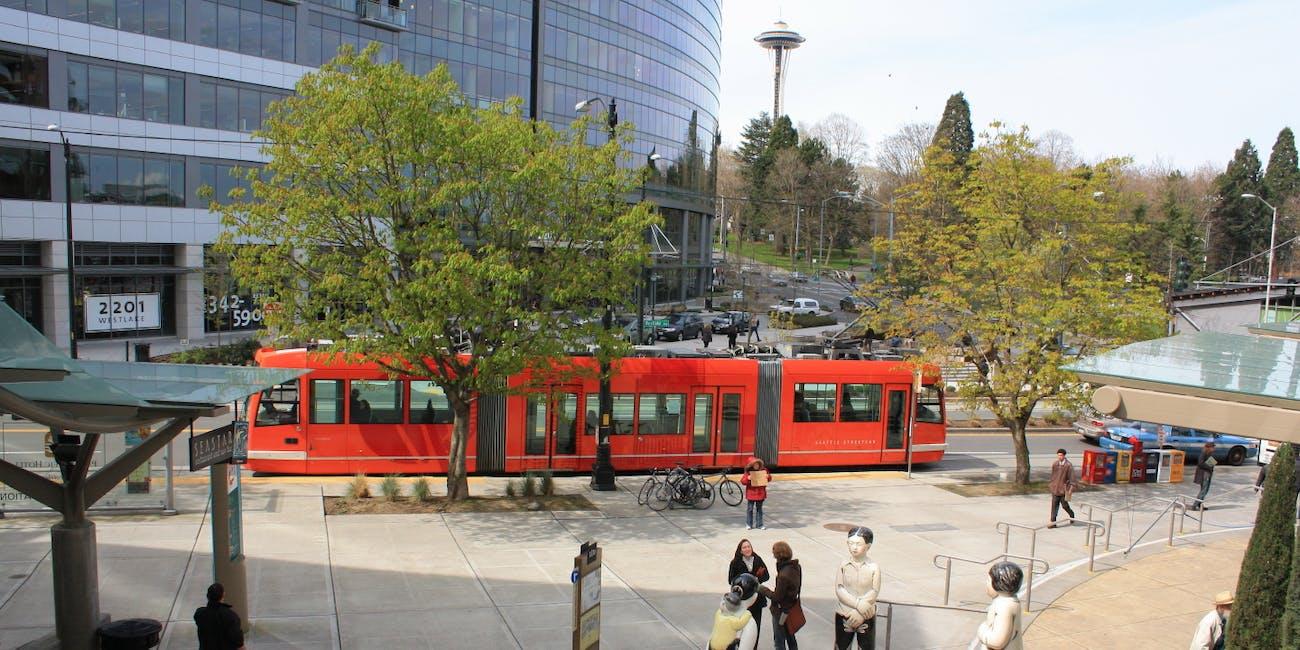 South Lake Union Streetcar Seattle Amazon SLUT Space Needle