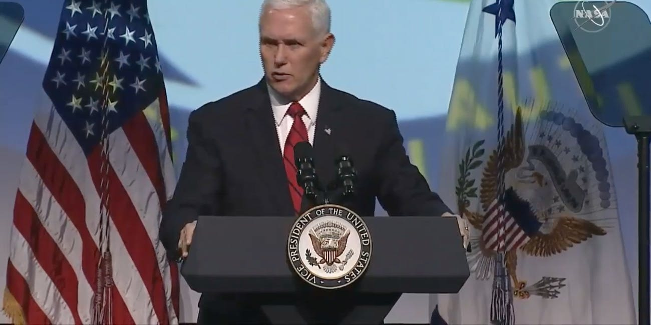 Vice President Mike Pence speaking at the opening ceremony of the IAC