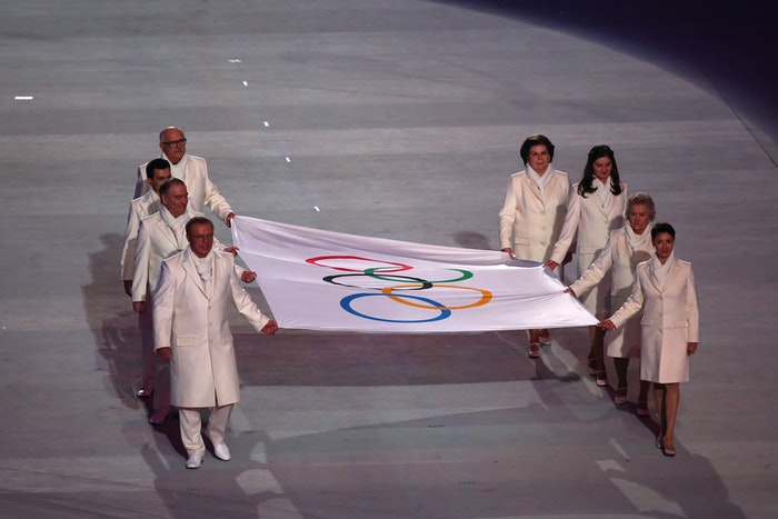 Valentina Tereshkova was one of the Russians who helped  carry the Olympic flag into the stadium during the Opening Ceremony of the Sochi 2014 Winter Olympics.