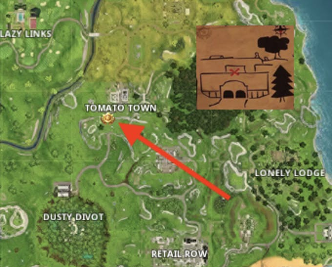 The Risky Reels treasure map for the 'Fortnite: Battle Royale' Season 5, Week 1 Challenge leads to an area just south of Tomato Town.