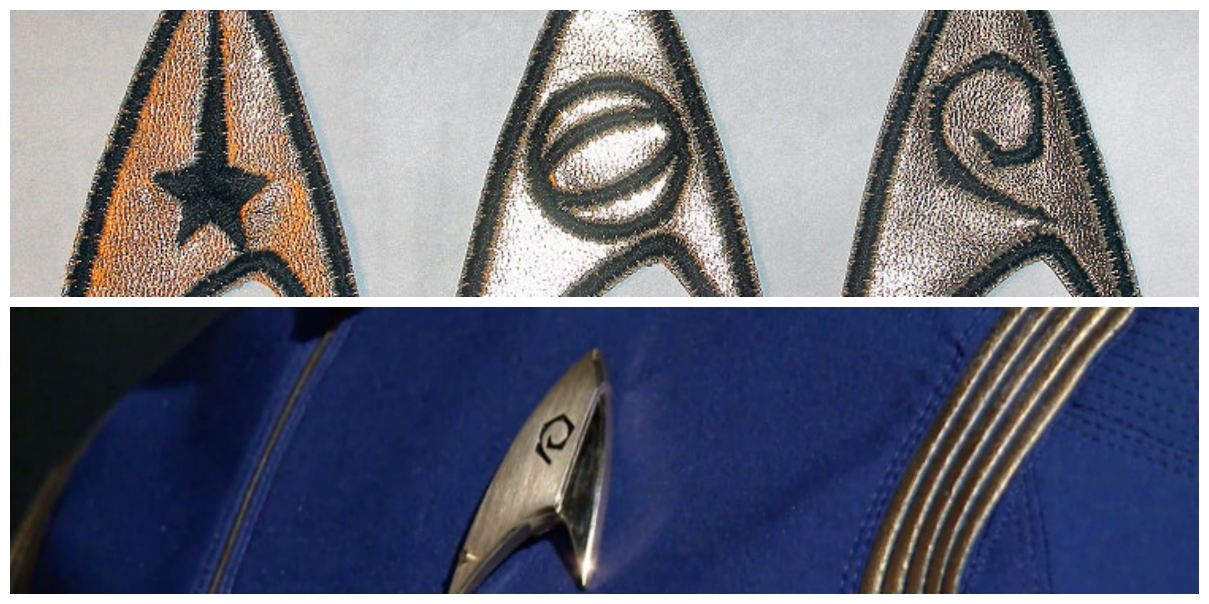 ABOVE: Original 'Star Trek' Starfleet patches. BELOW: A glimpse of the new uniform.