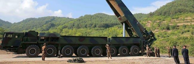 A Hwasong-14 ICBM on an erector truck.