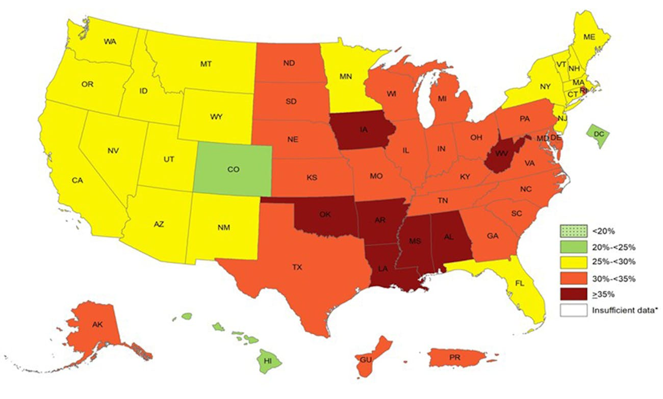 US obesity map