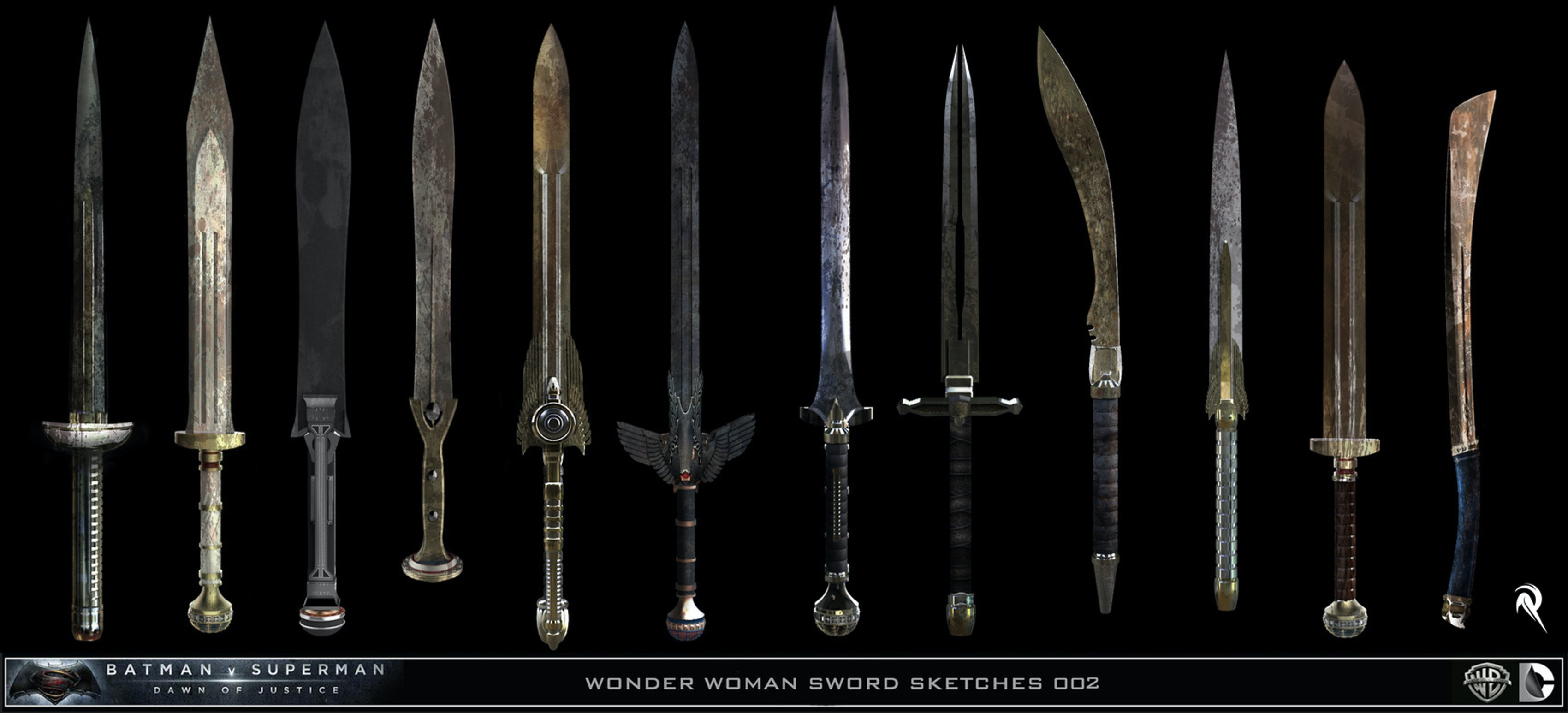 Designs for Wonder Woman's Sword from Batman v Superman