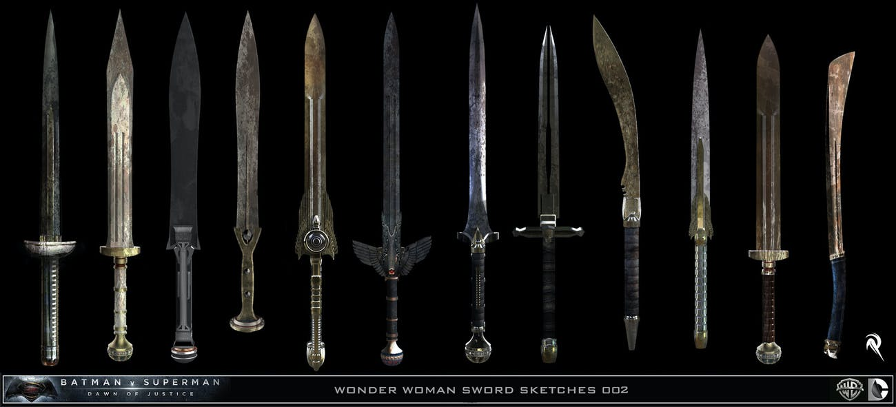 Designs for Wonder Woman's Sword from Batman v Superman