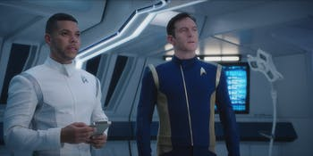 Dr. Culber (Wilson Cruz) and Cpatain Lorca (Jason Isaacs) in 'Star Trek: Discovery.'