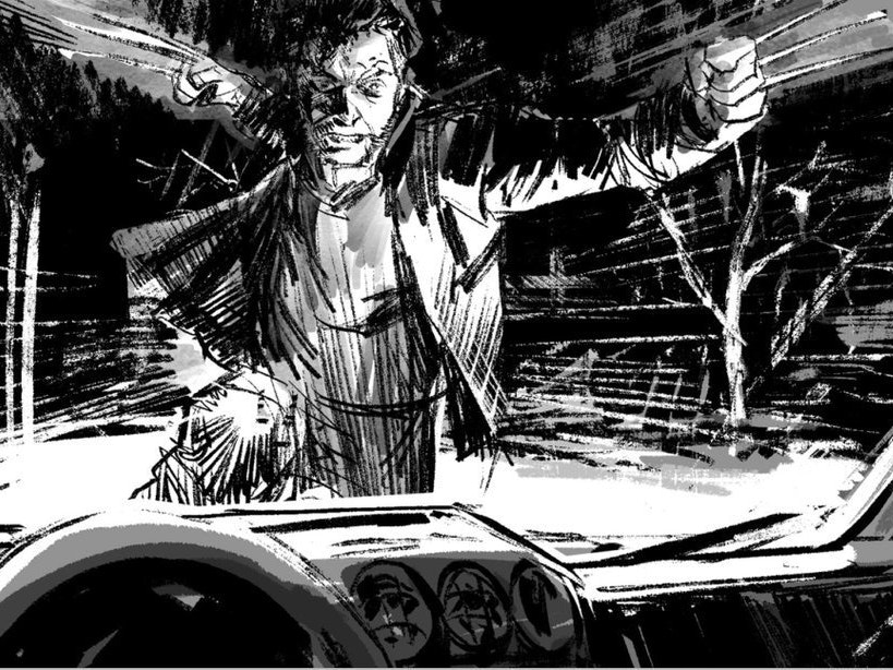 Wolverine Smashes Through a Windshield in 'Logan' Storyboard