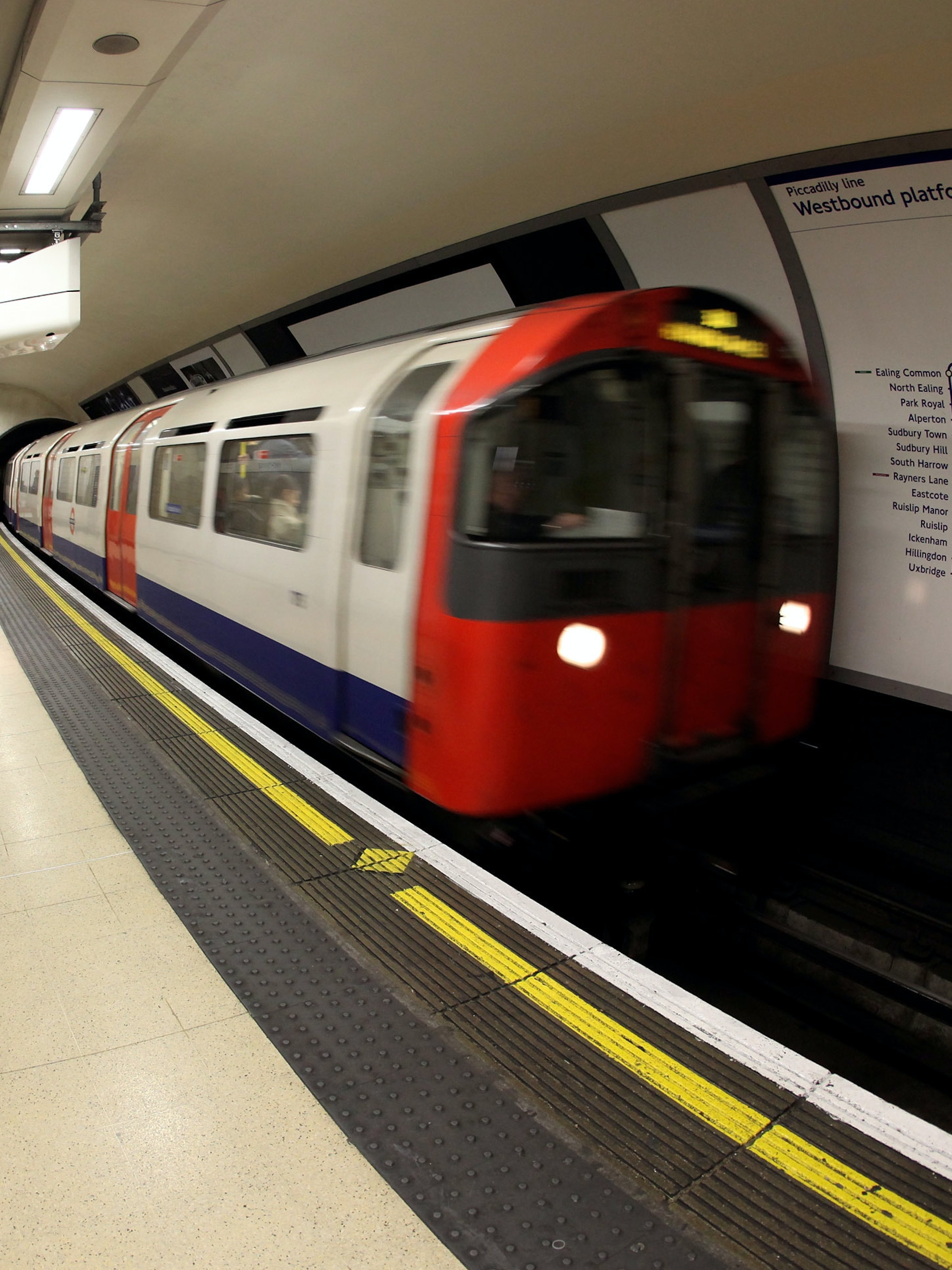 LONDON, ENGLAND - MARCH 30:  A London Underground train arrives in Knightsbridge station on March 30, 2010 in London, England. London Underground workers are to be balloted for strike action in a dispute over the company's proposed cutting of 800 jobs in a bid to save 16m GBP per year. News of the potential Tube strike follows seven days of industrial action taken by British Airways cabin crew and the possibility of the first national rail strike in 16 years.  (Photo by Oli Scarff/Getty Images)