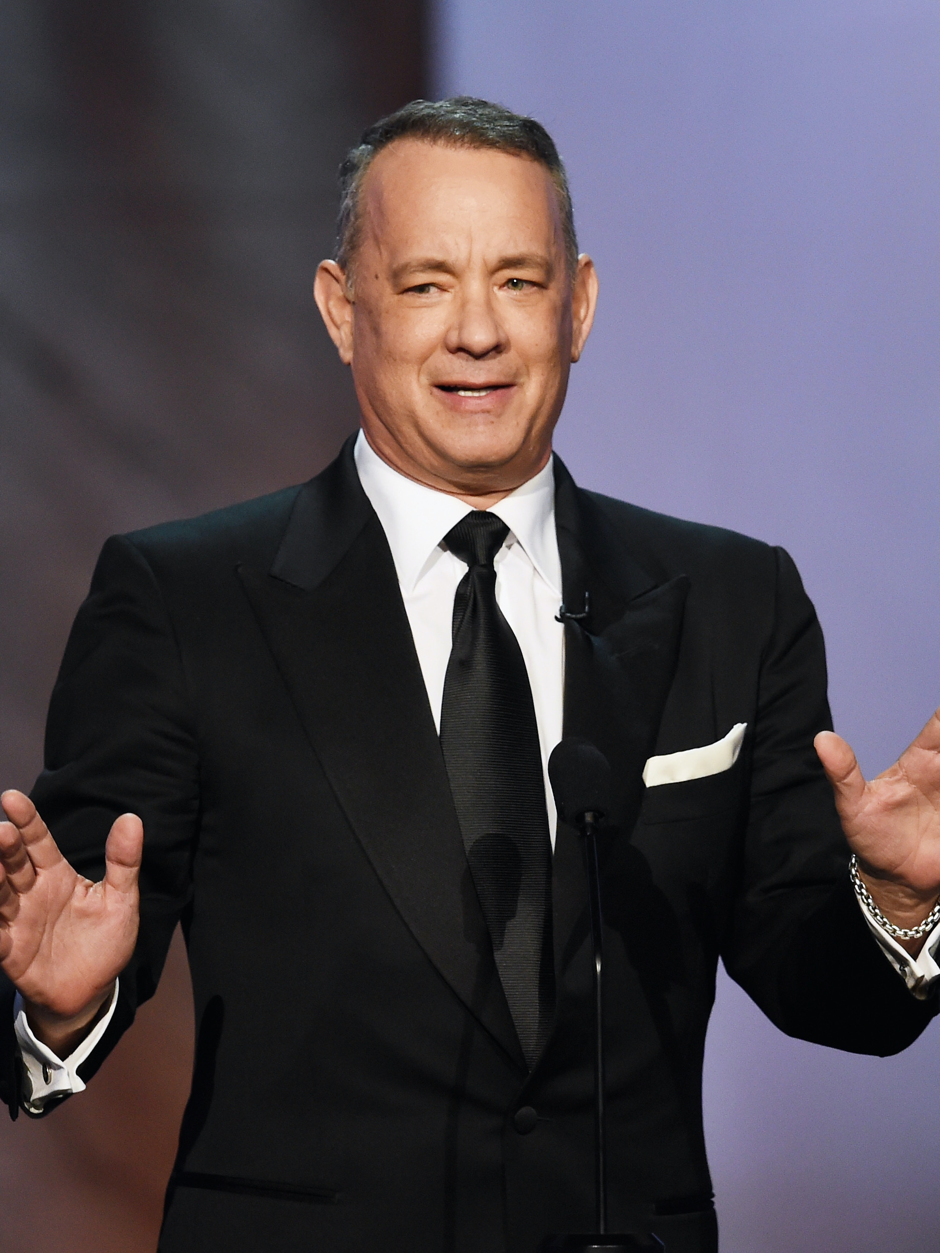 HOLLYWOOD, CA - JUNE 09:  Actor Tom Hanks speaks onstage during American Film Institute's 44th Life Achievement Award Gala Tribute to John Williams at Dolby Theatre on June 9, 2016 in Hollywood, California. 26148_004  (Photo by Kevin Winter/Getty Images )