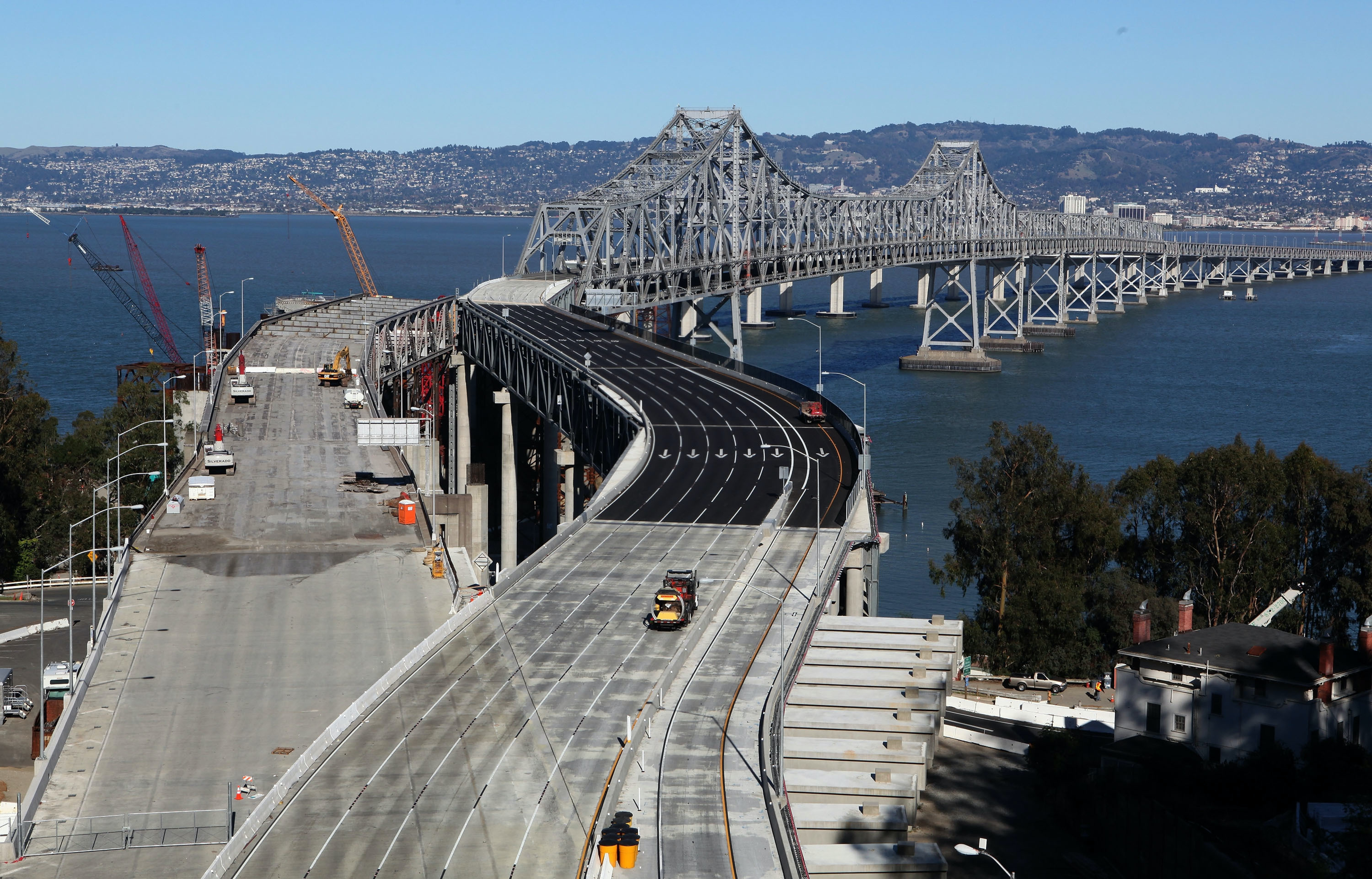 The Bay Bridge reconstruction as seen from the ground in 2009.