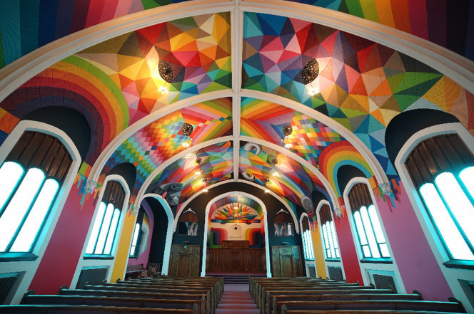 The chapel ceiling of the 113 year old building was painted by Okuda San Miguel.