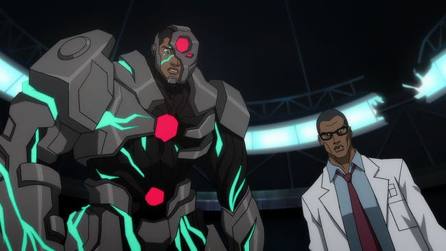 Cyborg's dynamic with his father is identical, and his costume looks way cooler.