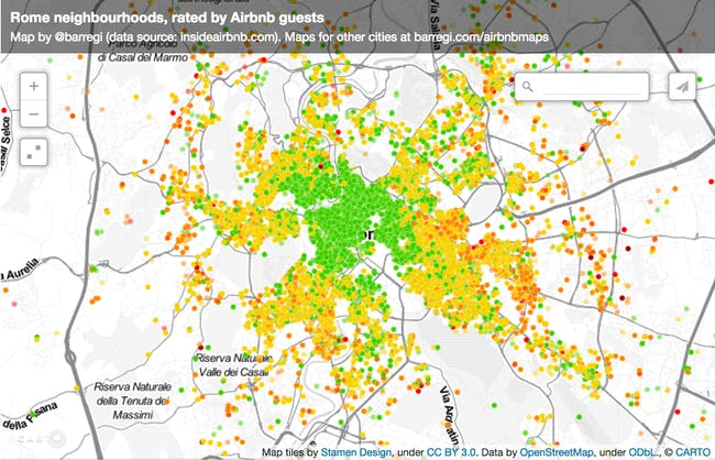 Rome Airbnb ratings location reviews stars data maps wisdom of crowds