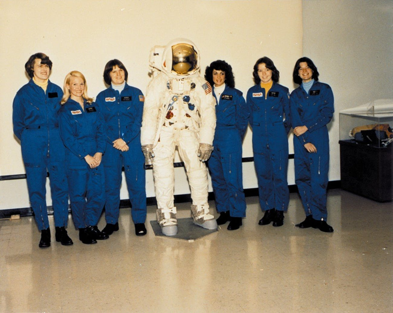 From left to right are Shannon W. Lucid, Margaret Rhea Seddon, Kathryn D. Sullivan, Judith A. Resnik, Anna L. Fisher, and Sally K. Ride. NASA selected all six women as their first female astronaut candidates in January 1978, allowing them to enroll in a training program that they completed in August 1979. Shannon W. Lucid was born on January 14, 1943 in Shanghai, China but considers Bethany, Oklahoma to be her hometown. She spent many years at the University of Oklahoma, receiving a Bachelor in chemistry in 1963, a Master in biochemistry in 1970, and a Doctorate in biochemistry in 1973. Dr. Lucid flew on the STS-51G Discovery, STS-34 Atlantis, STS-43 Atlantis, and STS-58 Columbia shuttle missions, setting the record for female astronauts by logging 838 hours and 54 minutes in space. She also currently holds the United States single mission space flight endurance record for her 188 days on the Russian Space Station Mir. From February 2002 to September 2003, she served as chief scientist at NASA Headquarters before returning to JSC to help with the Return to Flight program after the STS-107 accident. Born November 8, 1947, in Murfreesboro, Tennessee, Margaret Rhea Seddon received a Doctorate of Medicine in 1973 from the University of Tennessee. She flew on space missions STS-51 Discovery, STS-40 Columbia, and STS-58 Columbia for a total of over 722 hours in space. Dr. Seddon retired from NASA in November 1997, taking on a position as the Assistant Chief Medical Officer of the Vanderbilt Medical Group in Nashville, Tennessee. Kathryn Sullivan was born October 3, 1951 in Patterson, New Jersey but considers Woodland Hills, California to be her hometown. She received a Bachelor in Earth Sciences from the University of California, Santa Cruz in 1973 and a Doctorate in Geology from Dalhousie University in Halifax, Nova Scotia in 1978. She flew on space missions STS-41G, STS-31, and STS-45 and logged a total of 532 hours in space. Dr. Sullivan left NASA in August 1992 to ass