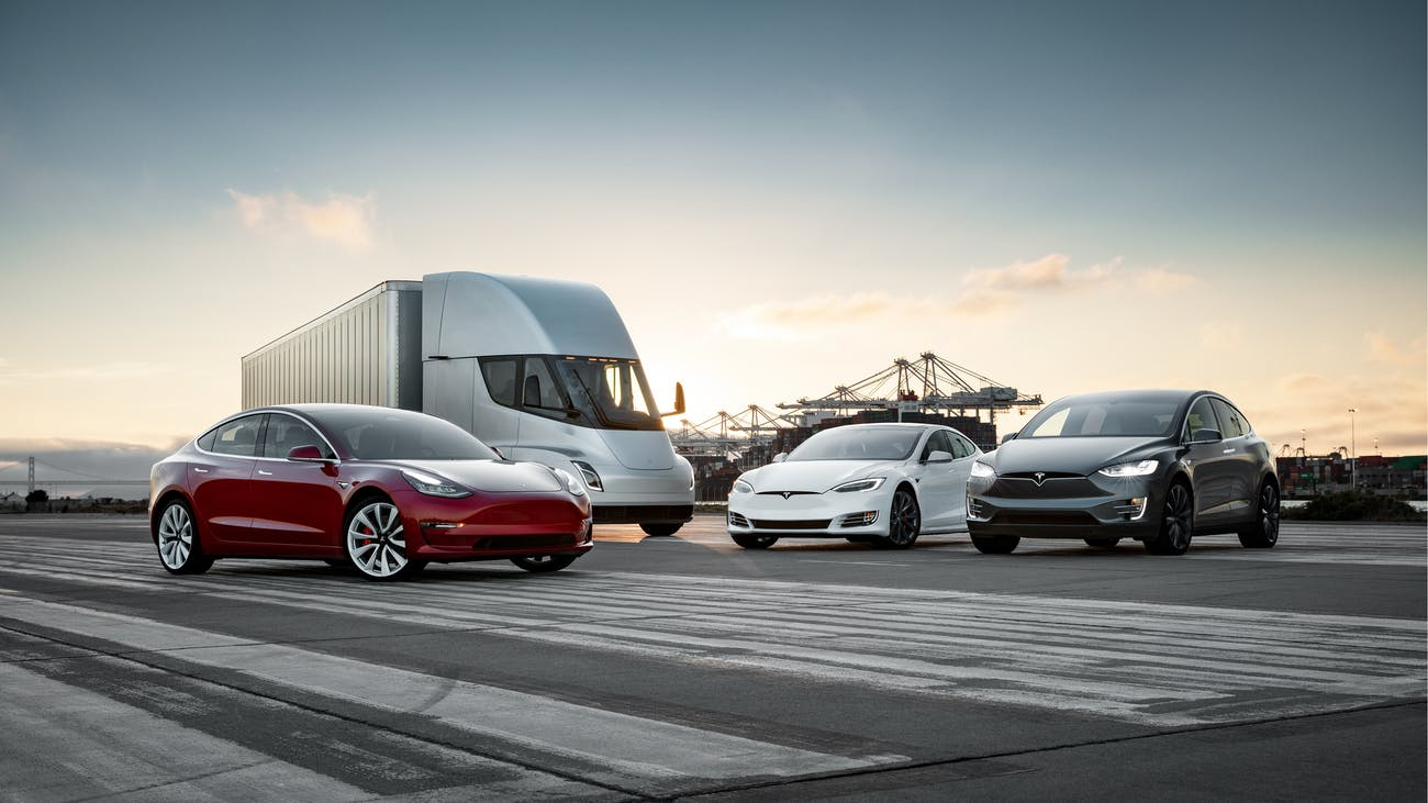 The Tesla lineup, featuring the Model S, Semi, 3 and X.