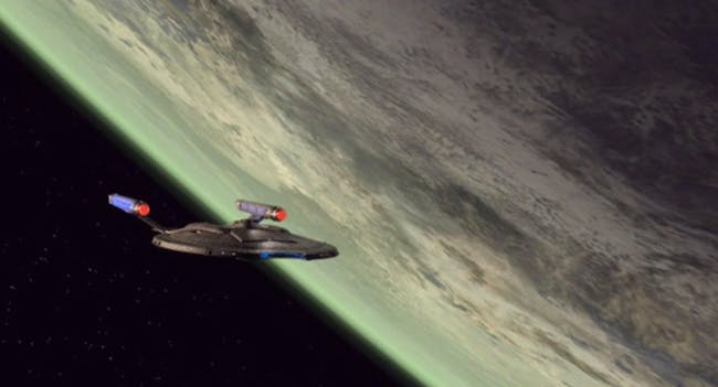 The NX-01 Enterprise in orbit of Kronos