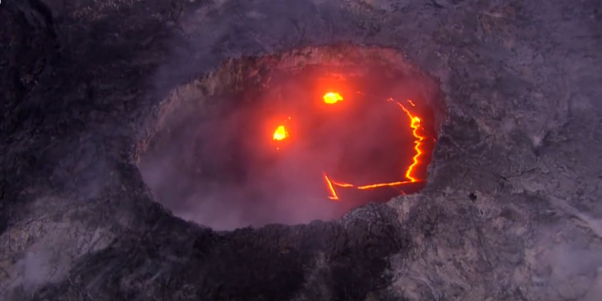 Smiley face volcano Hawaii