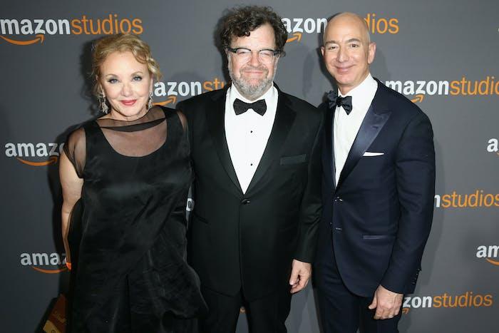 Actress J. Smith-Cameron, director Kenneth Lonergan, and Amazon Founder/CEO Jeff Bezos attends Amazon Studios Golden Globes Celebration.