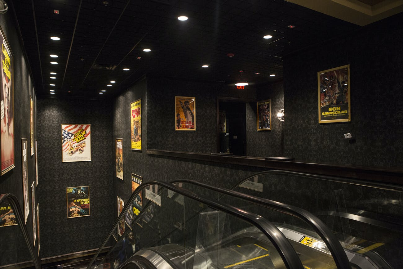 The theater entrance escalators at the Alamo Drafthouse in Brooklyn.