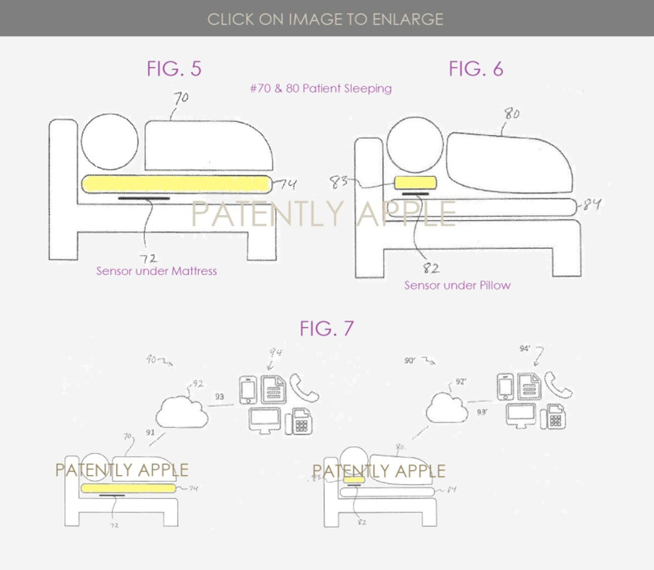 apple sleep tracker bed pillow matress patent