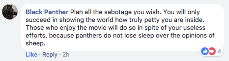 One Black Panther fan group directly responded in the best way possible.