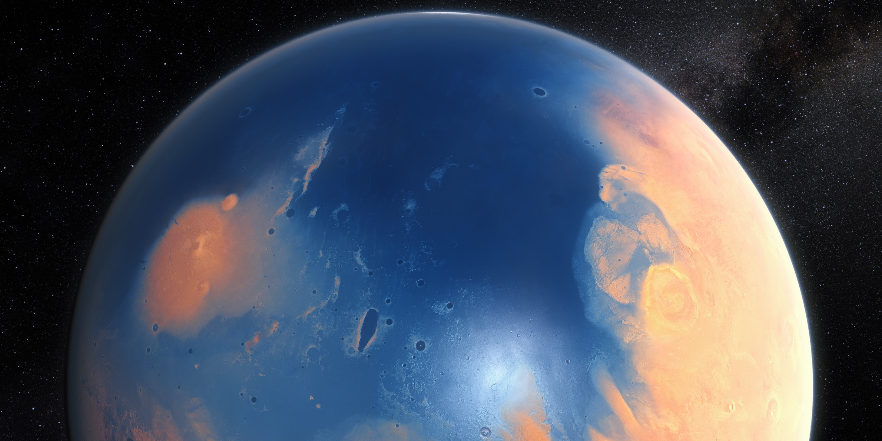 This artist's impression shows how Mars may have looked about four billion years ago.