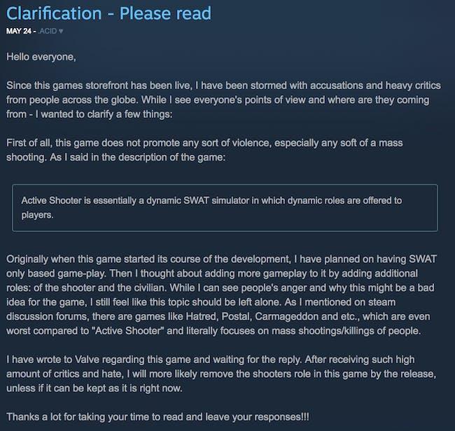 'Active Shooter' developer response