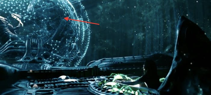 David (Michael Fassbender) operates the Engineers' dreadnaught from the famous Space Jockey position in the new 'Alien: Covenant' prologue.