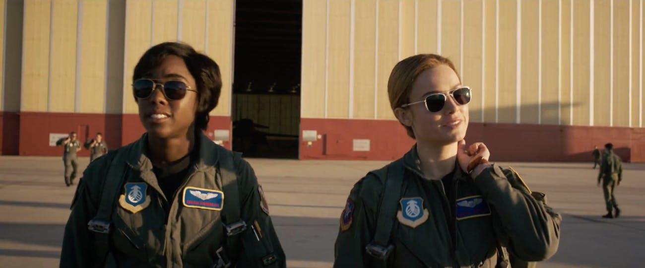 Lashana Lynch as Maria Rambeau and Brie Larson as Carol Danvers in 'Captain Marvel'.