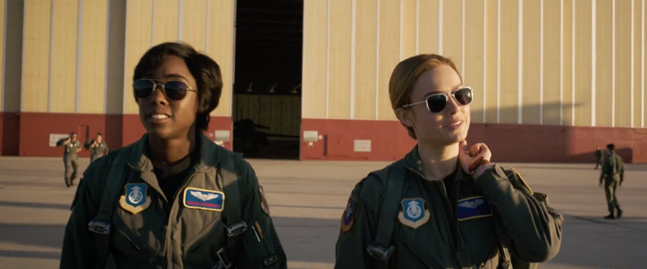 Lashana Lynch as Maria Rambeau and Brie Larson as Carol Danvers in 'Captain Marvel'.