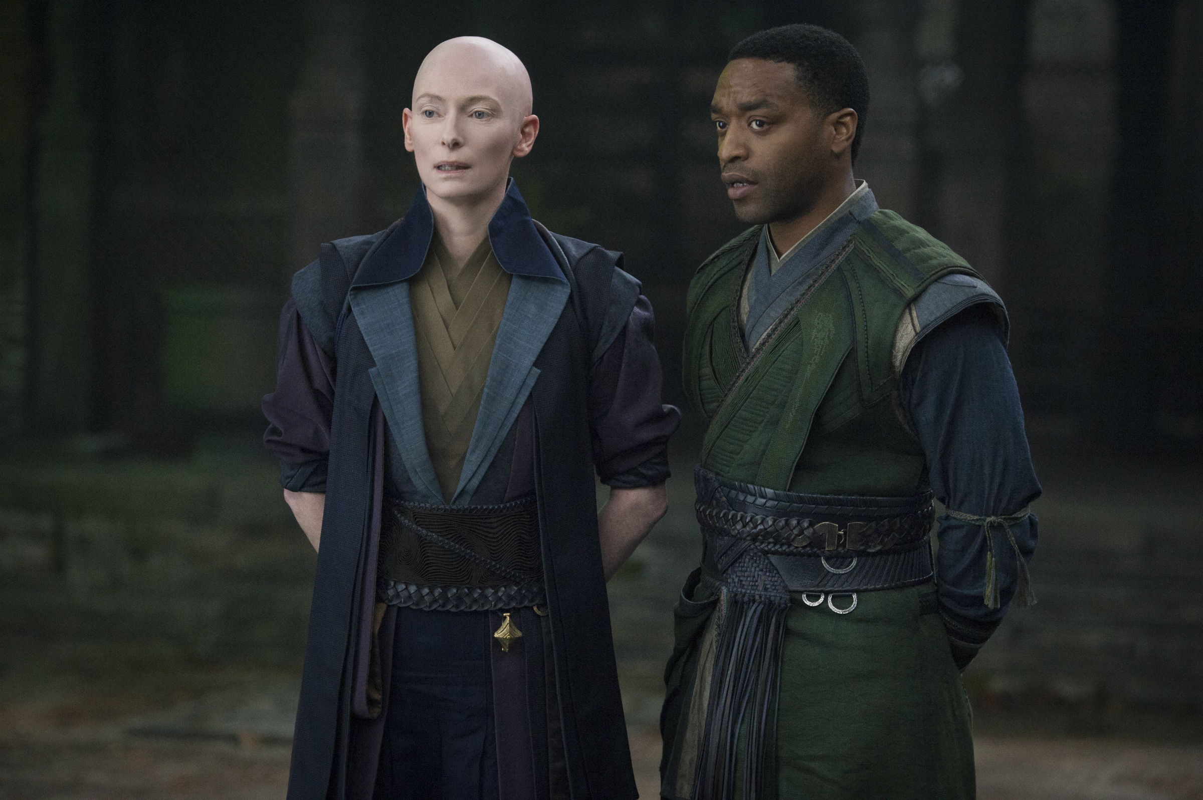 Tilda Swinton as the Ancient One, Chiwetel Ejiofor as Karl Mordo