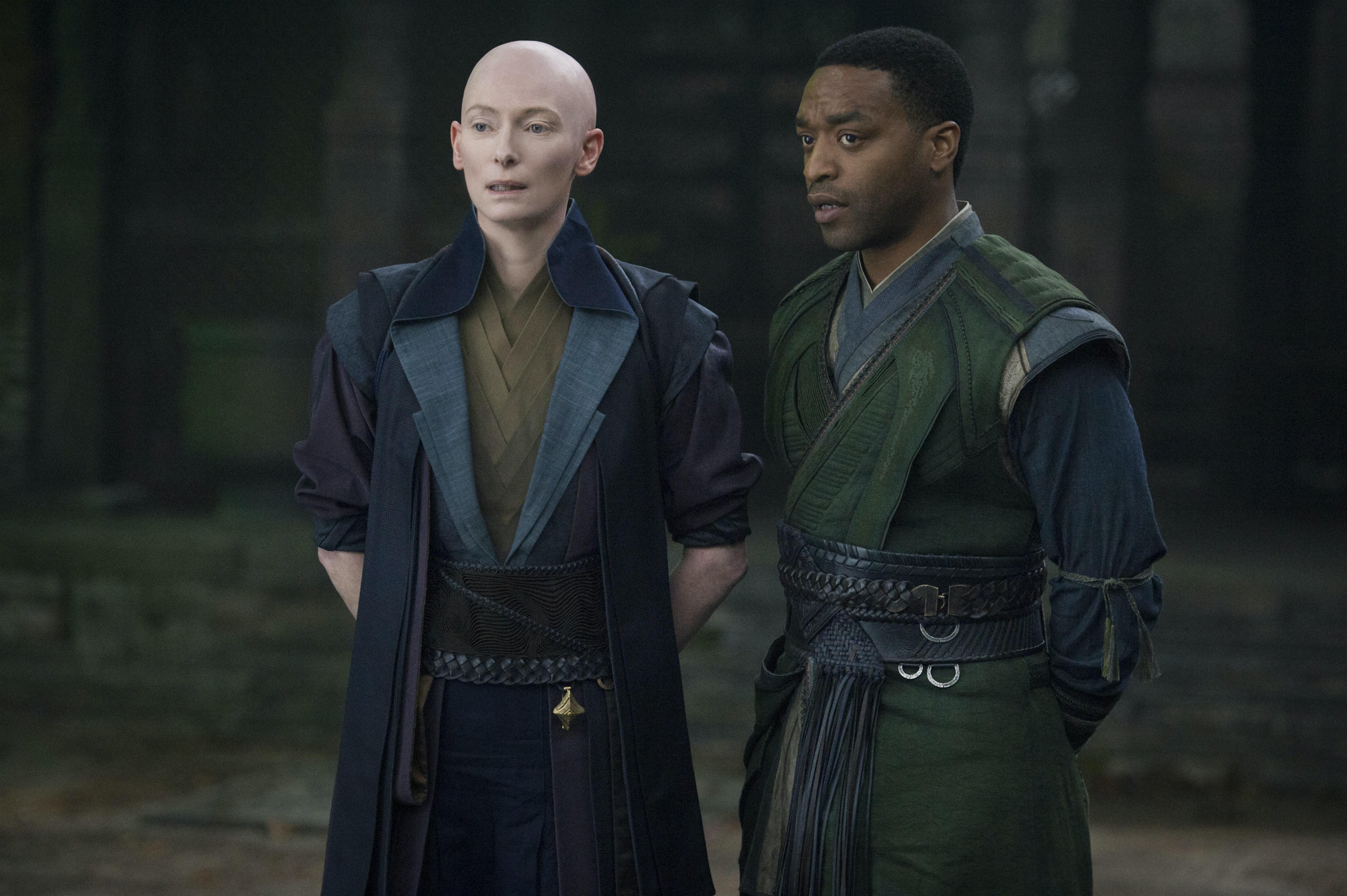 Tilda Swinton as the Ancient One, Chiwetel Ejiofor as Karl Mordo