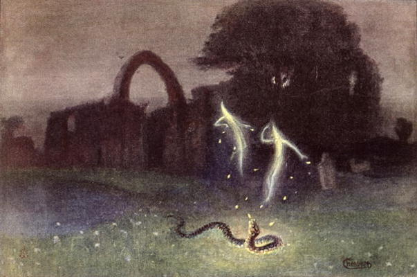 The Will o' the Wisp and the Snake by Hermann Hendrich (1854-1931)
