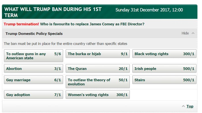 Donald Trump Specials betting odds.