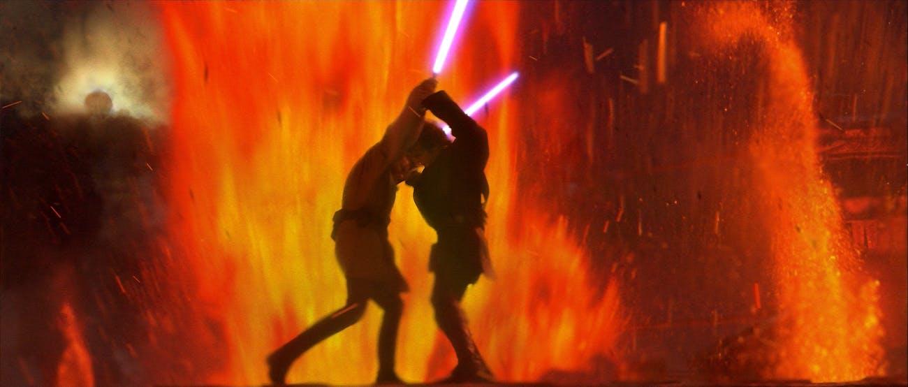 Anakin and Obi-Wan on Mustafar