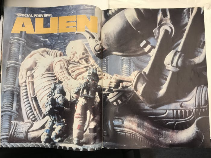 Full-page spread: probably the first public look at the Space Jockey, EVER.