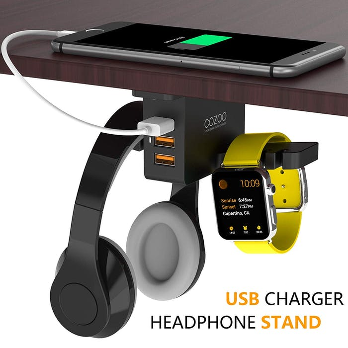 Headphone Stand with USB Charger