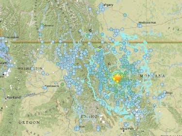 map united states northwest earthquake shake DYFI Montana 2017