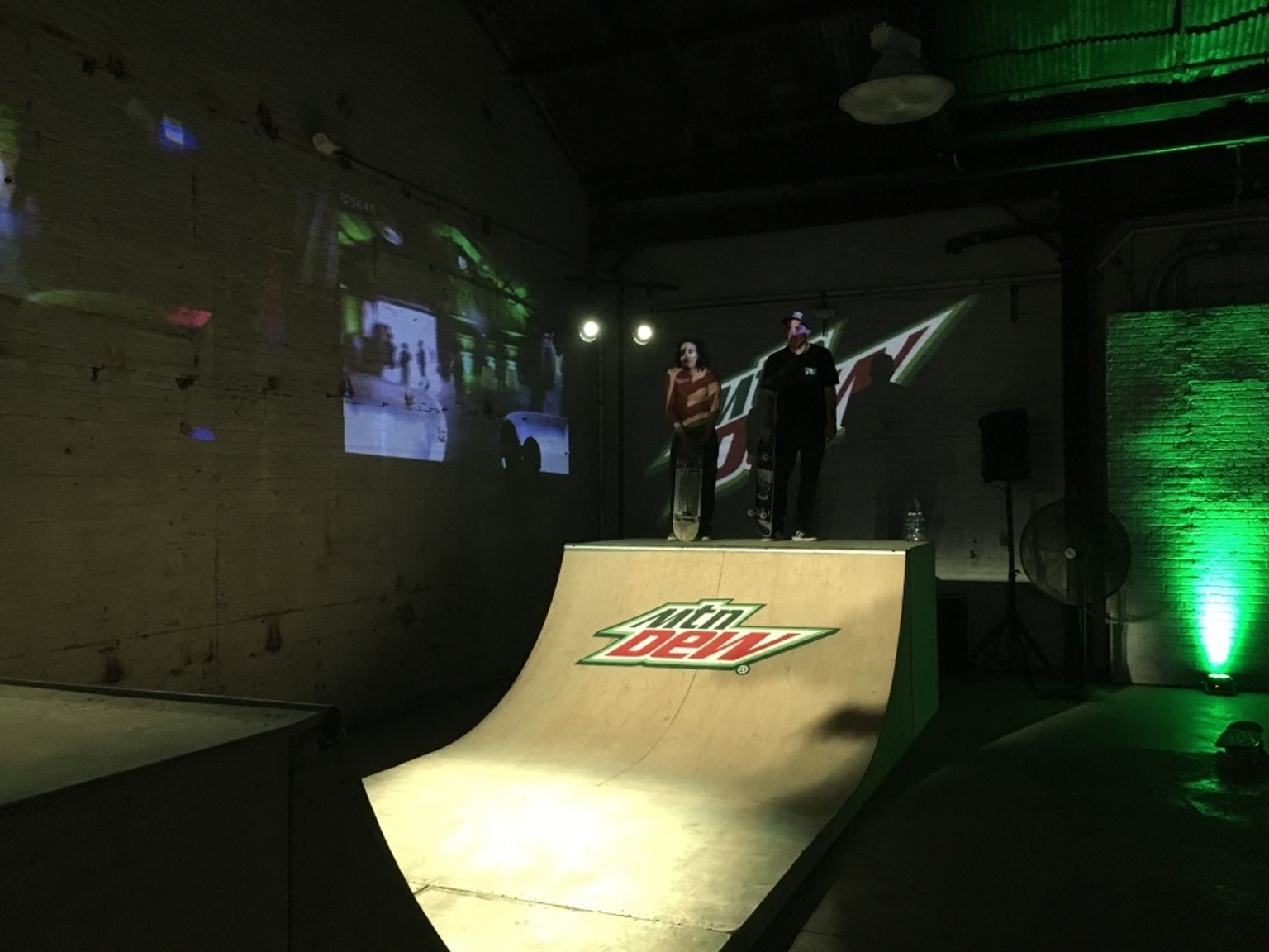 Nothing says Dew, drones, and skating like exposed brick.