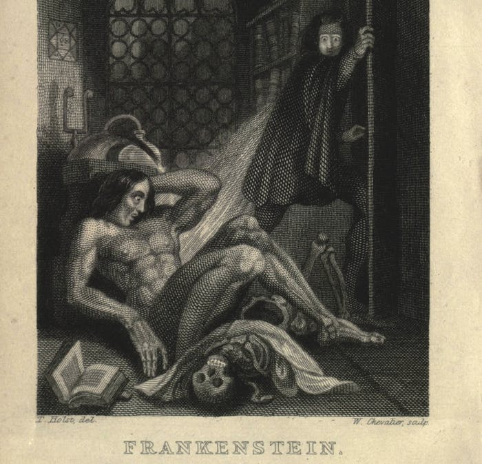 An illustration in the 1831 edition of Frankenstein.