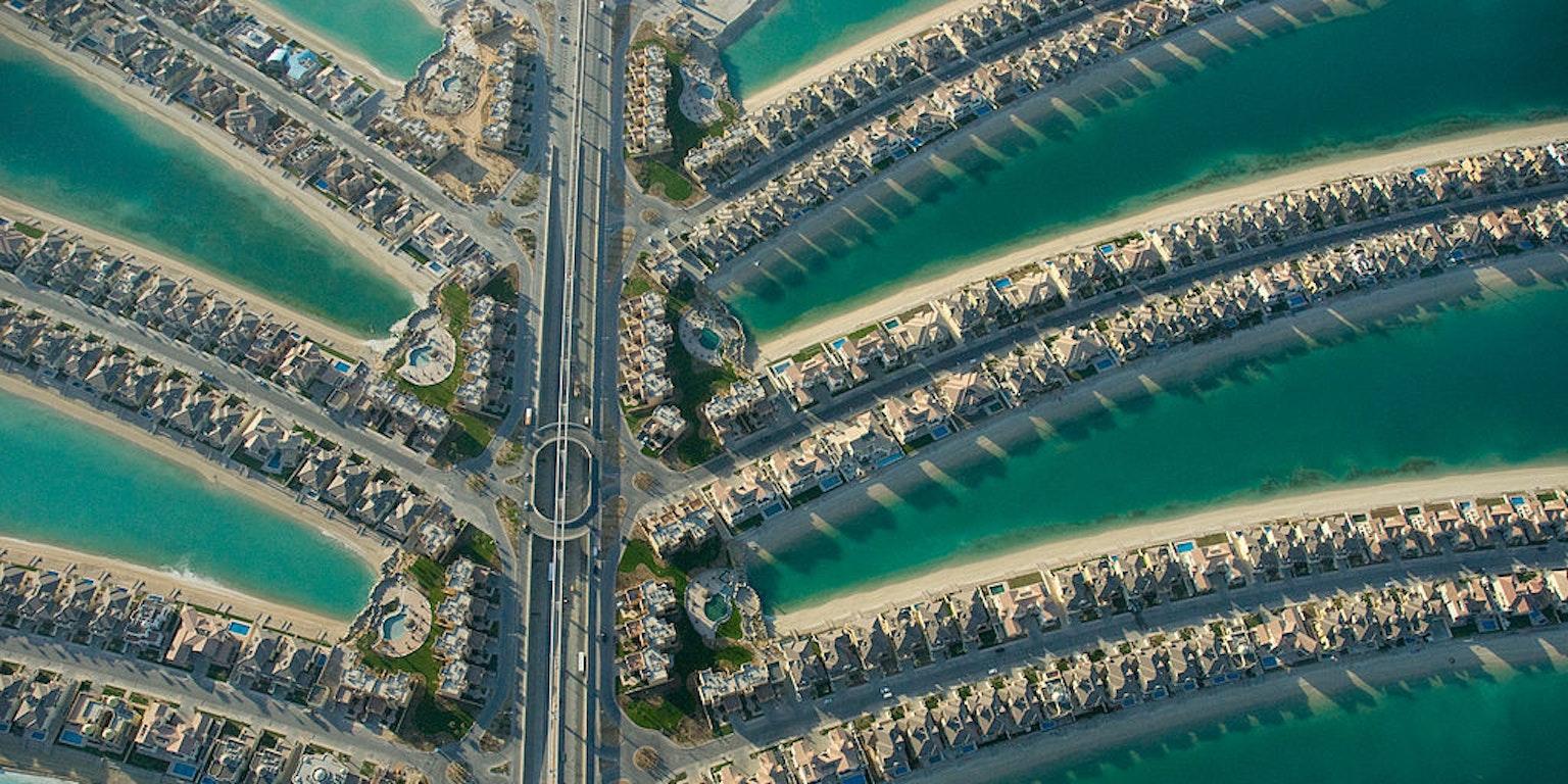Dubai coast artificial islands the world palms.