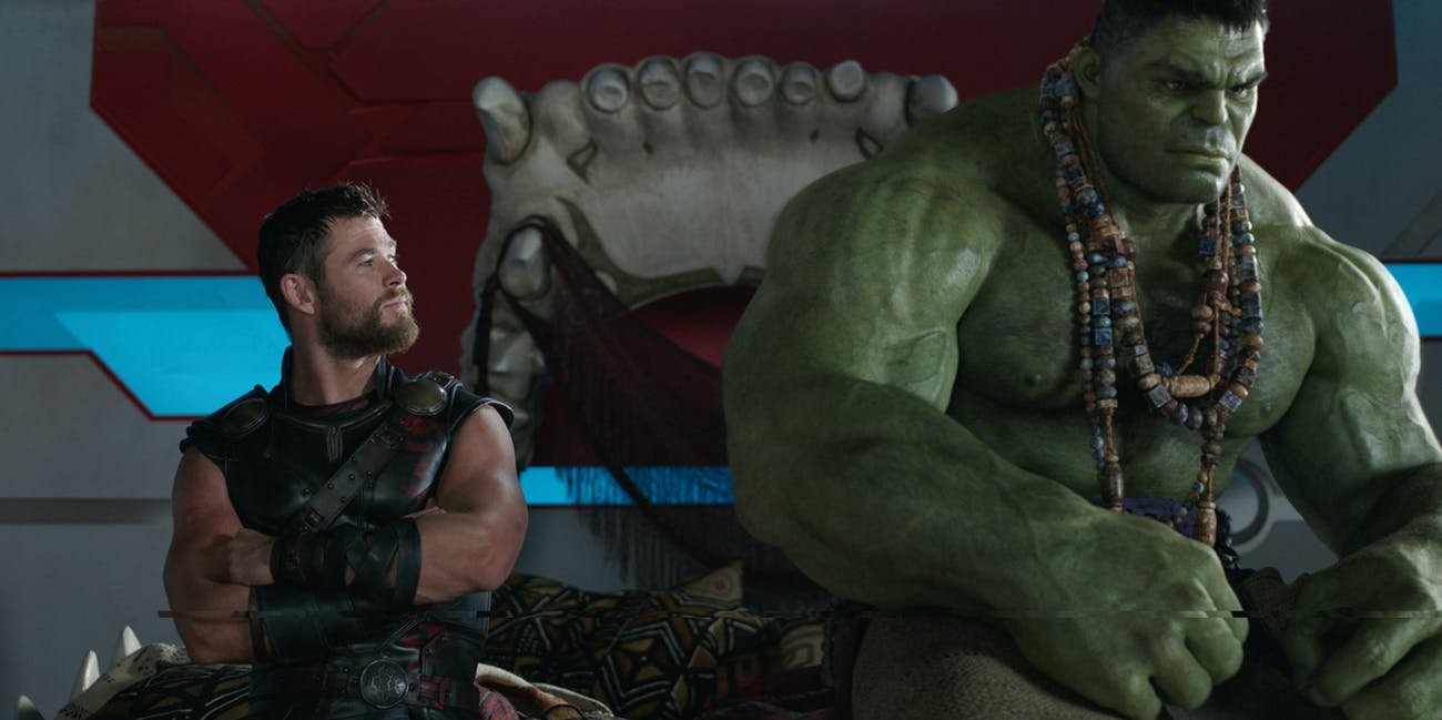 Thor and Hulk share a moment in 'Thor: Ragnarok'.