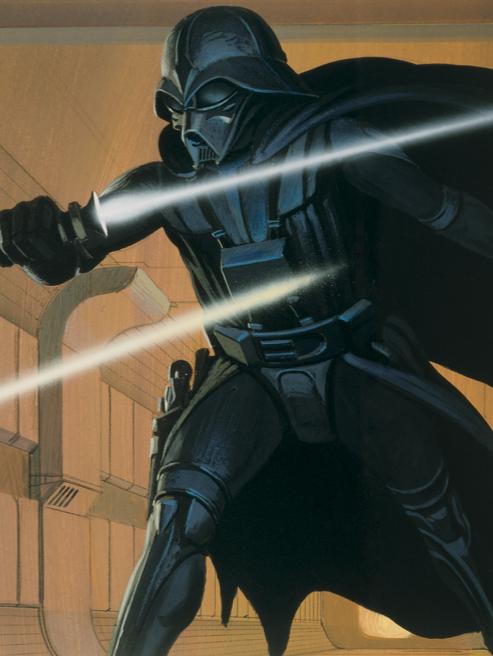 """Ralph McQuarrie's 'Star Wars' concept art: """"Deak Starkiller vs. Vader"""""""