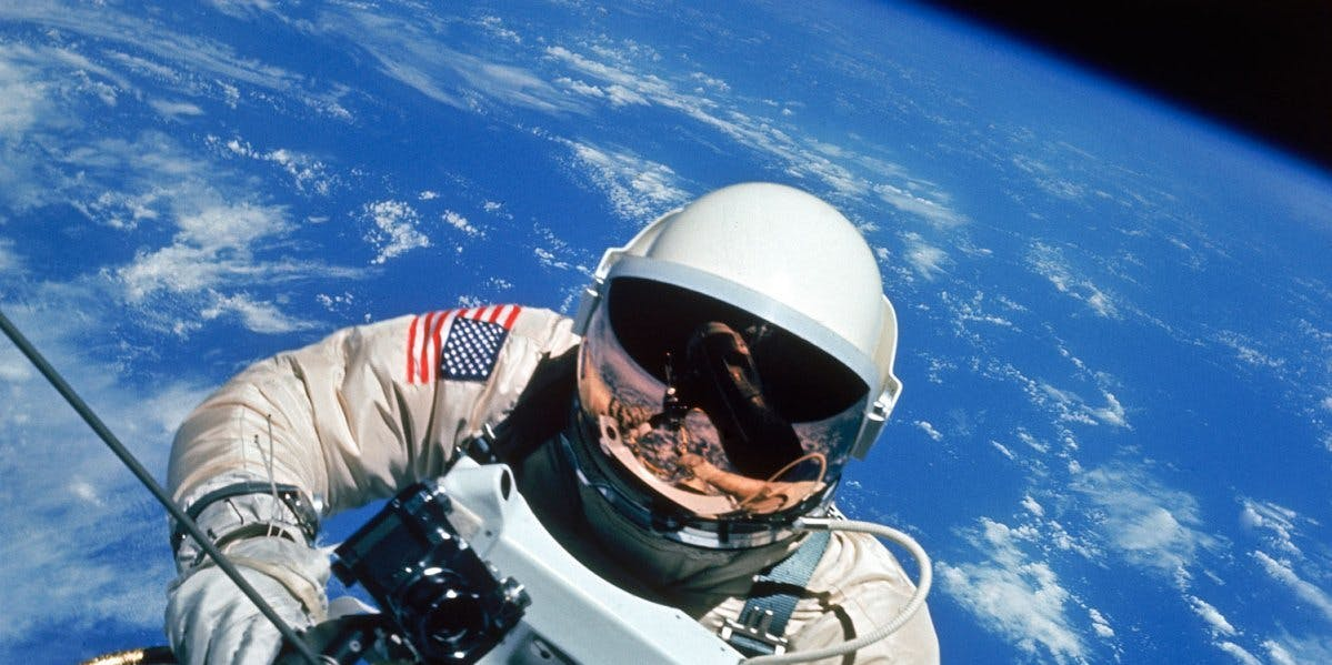 Edward White, the first American to walk in space, photographed by commander James McDivitt during NASA's Gemini 4 mission, June 1965.