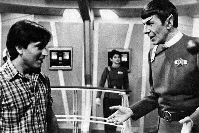 Director Nicholas Meyer with Leonard Nimoy on the set of 'Star Trek II :The Wrath of Khan'
