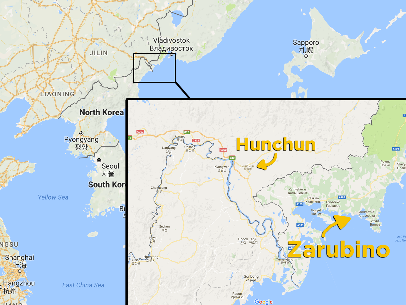 Here's where Hunchun and Zarubino are.