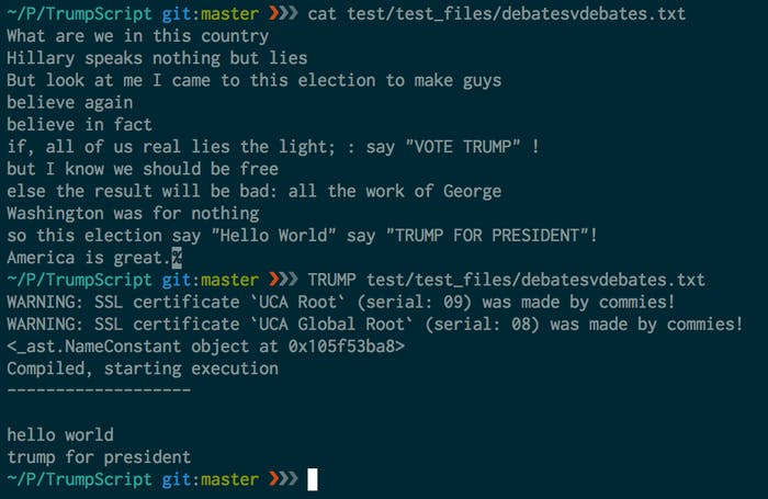 """ExampleScriptToOutput shows a more complex bit of TrumpScript at the top after the first 'cat' command, and then its corresponding output below that (after the 'TRUMP' command)."""
